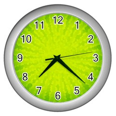 Radial Green Crystals Crystallize Wall Clocks (silver)  by BangZart
