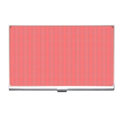 Christmas Red Velvet Mini Gingham Check Plaid Business Card Holders by PodArtist