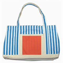 Christmas Red Velvet Mini Gingham Check Plaid Striped Blue Tote Bag by PodArtist
