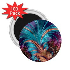Feather Fractal Artistic Design 2 25  Magnets (100 Pack)  by BangZart