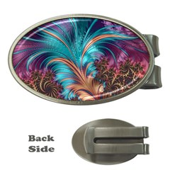 Feather Fractal Artistic Design Money Clips (oval)