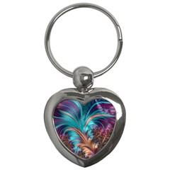 Feather Fractal Artistic Design Key Chains (heart)