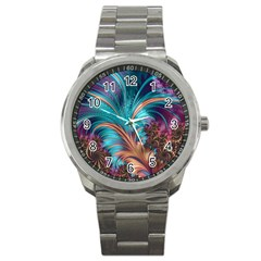 Feather Fractal Artistic Design Sport Metal Watch by BangZart