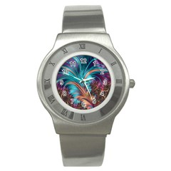 Feather Fractal Artistic Design Stainless Steel Watch by BangZart