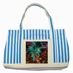 Feather Fractal Artistic Design Striped Blue Tote Bag by BangZart