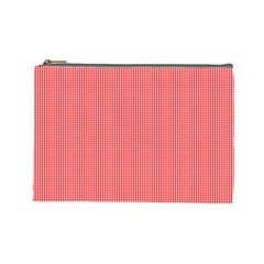 Christmas Red Velvet Mini Gingham Check Plaid Cosmetic Bag (large)  by PodArtist