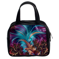Feather Fractal Artistic Design Classic Handbags (2 Sides)