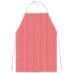 Christmas Red Velvet Mini Gingham Check Plaid Full Print Aprons by PodArtist