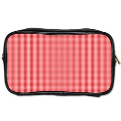 Christmas Red Velvet Mini Gingham Check Plaid Toiletries Bags by PodArtist