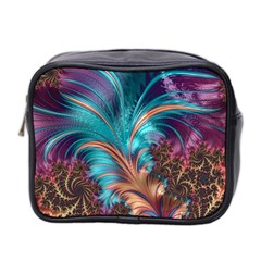 Feather Fractal Artistic Design Mini Toiletries Bag 2 Side by BangZart