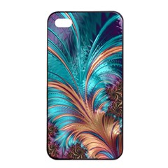 Feather Fractal Artistic Design Apple Iphone 4/4s Seamless Case (black) by BangZart