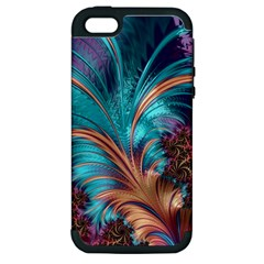 Feather Fractal Artistic Design Apple Iphone 5 Hardshell Case (pc+silicone)