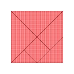 Christmas Red Velvet Mini Gingham Check Plaid Acrylic Tangram Puzzle (4  X 4 ) by PodArtist