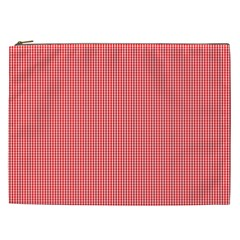 Christmas Red Velvet Mini Gingham Check Plaid Cosmetic Bag (xxl)  by PodArtist