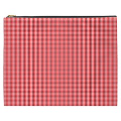 Christmas Red Velvet Mini Gingham Check Plaid Cosmetic Bag (xxxl)  by PodArtist