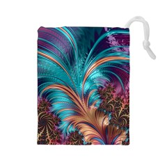 Feather Fractal Artistic Design Drawstring Pouches (large)