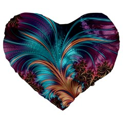 Feather Fractal Artistic Design Large 19  Premium Flano Heart Shape Cushions by BangZart