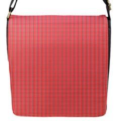 Christmas Red Velvet Mini Gingham Check Plaid Flap Messenger Bag (s) by PodArtist
