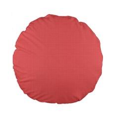 Christmas Red Velvet Mini Gingham Check Plaid Standard 15  Premium Flano Round Cushions by PodArtist