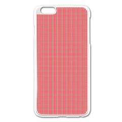 Christmas Red Velvet Mini Gingham Check Plaid Apple Iphone 6 Plus/6s Plus Enamel White Case by PodArtist