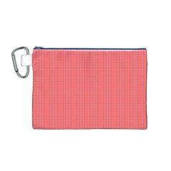 Christmas Red Velvet Mini Gingham Check Plaid Canvas Cosmetic Bag (m) by PodArtist