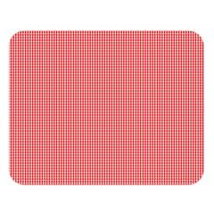 Christmas Red Velvet Mini Gingham Check Plaid Double Sided Flano Blanket (large)  by PodArtist