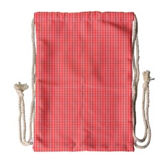 Christmas Red Velvet Mini Gingham Check Plaid Drawstring Bag (large) by PodArtist