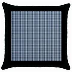 Silent Night Blue Mini Gingham Check Plaid Throw Pillow Case (black) by PodArtist