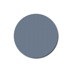 Silent Night Blue Mini Gingham Check Plaid Rubber Round Coaster (4 Pack)  by PodArtist