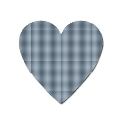 Silent Night Blue Mini Gingham Check Plaid Heart Magnet by PodArtist