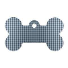 Silent Night Blue Mini Gingham Check Plaid Dog Tag Bone (two Sides) by PodArtist