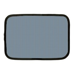 Silent Night Blue Mini Gingham Check Plaid Netbook Case (medium)  by PodArtist