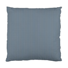 Silent Night Blue Mini Gingham Check Plaid Standard Cushion Case (two Sides) by PodArtist