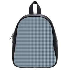 Silent Night Blue Mini Gingham Check Plaid School Bags (small)  by PodArtist