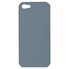 Silent Night Blue Mini Gingham Check Plaid Apple Iphone 5 Hardshell Case by PodArtist