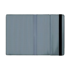 Silent Night Blue Mini Gingham Check Plaid Apple Ipad Mini Flip Case by PodArtist
