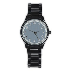 Silent Night Blue Mini Gingham Check Plaid Stainless Steel Round Watch by PodArtist