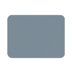 Silent Night Blue Mini Gingham Check Plaid Double Sided Flano Blanket (mini)  by PodArtist