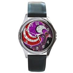 Fractal Art Red Design Pattern Round Metal Watch