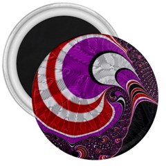 Fractal Art Red Design Pattern 3  Magnets