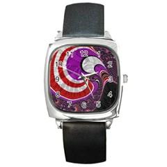 Fractal Art Red Design Pattern Square Metal Watch