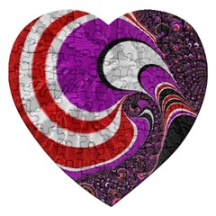 Fractal Art Red Design Pattern Jigsaw Puzzle (heart)