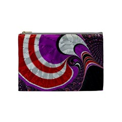 Fractal Art Red Design Pattern Cosmetic Bag (medium)