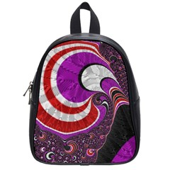 Fractal Art Red Design Pattern School Bags (small)  by BangZart