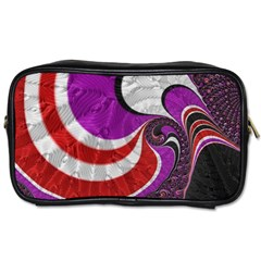 Fractal Art Red Design Pattern Toiletries Bags 2 Side by BangZart