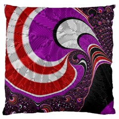 Fractal Art Red Design Pattern Large Cushion Case (one Side) by BangZart