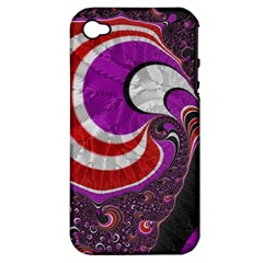 Fractal Art Red Design Pattern Apple Iphone 4/4s Hardshell Case (pc+silicone) by BangZart