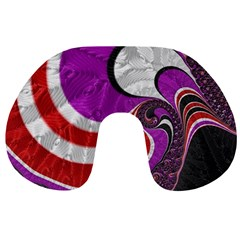 Fractal Art Red Design Pattern Travel Neck Pillows