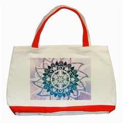 Mandalas Symmetry Meditation Round Classic Tote Bag (red)
