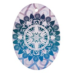 Mandalas Symmetry Meditation Round Oval Ornament (two Sides) by BangZart